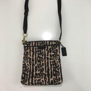 Coach ocelot crossbody messenger bag purse EUC
